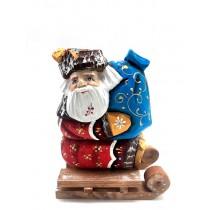 Figura Papá Noel en trineo, hecho a mano.