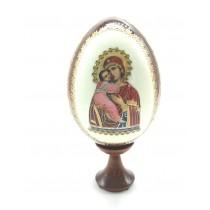 """Huevo con icono """"Vladimirskaza"""" en un soporte, 13 cm"""