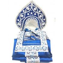 Traje nacional ruso + kokoshnik (color azul y blanco)