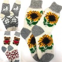 Calcetines de mujer, 100% lana, tejidos a mano