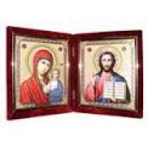 Diptijo(dos iconos) en terciopelo, 14*16 cm