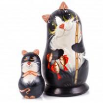 """Matrioska """"Gato con el pez y el ratón """" 13 cm"""