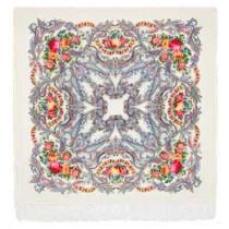 """Chal de lana con flecos de seda """"Sueño de mariposa, 125x125 cm"""