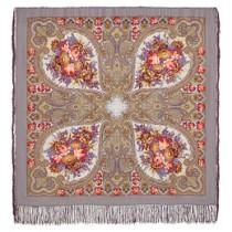 """Chal de lana con flecos de seda,""""Otoño púrpura"""", 125х125 cm"""
