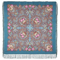 """Chal de lana con flecos de seda """"Sueños de felicidad"""", 125х125 cm"""