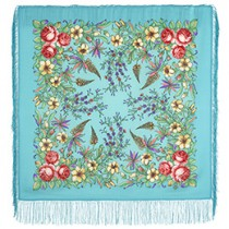 "Chal de lana con flecos de seda,""Viaje de primavera"" 89*89 cm"