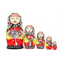 """Muñeca rusa """"Abuela con gatos"""" 5 piezas"""