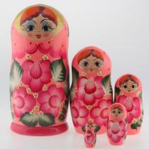 "Matrioska ""Flores rosas"" de 5 piezas"