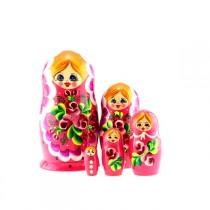 "Matrioska ""Flores"" rosa, 5 piezas"