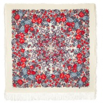 """Chal de lana con flecos de seda """"Sol cansado"""", 125x125 cm"""