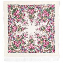 """Chal de lana con flecos de seda """"Mañana de primavera"""", 125х125 cm"""
