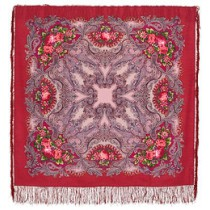 """Chal de lana con flecos de seda,""""El sueño de una mariposa, 125х125 cm"""