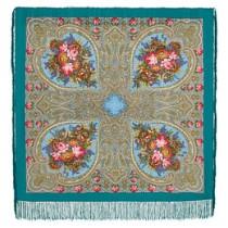 """Chal de lana con flecos de seda """"Encajes de otoño"""", 125x125 cm"""