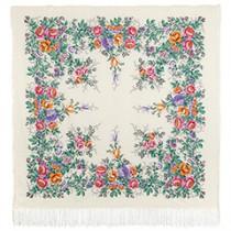 """Chal de lana con flecos de seda """"Ternura de la mañana"""", 125х125 cm"""