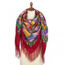 """Chal de lana con flecos de seda, """"Collar de flores"""" 146*146 cm"""