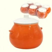 Un conjunto de ollas de cerámica Naranja  0,65 l (6 unid.).)