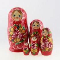 """Matrioska """"Flores rojas"""" de 5 piezas"""