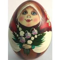 Huevo de madera, pintado a mano