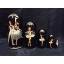 """Matrioska """"Ballet"""" negra,  18 cm"""