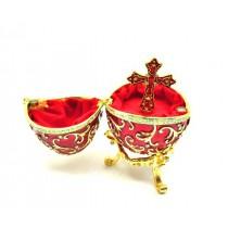 Huevo de Fabergé musical, rojo, 13 * 8 cm.