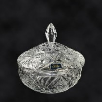 Bombonera de cristal de  Bohemia, 15 cm