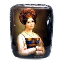 """Caja lacada""""Chica en kokoshnik"""" 8 * 11 cm"""
