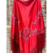 Mantón de flamenco triangular rojo