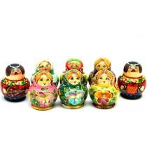 Muñeca rusa de 10 piezas, 6 cm