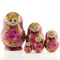 Matrioska con margaritas, 5 piezas
