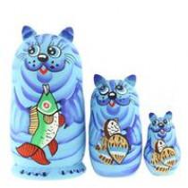 """Matrioska """"Gato con pez"""" azul"""