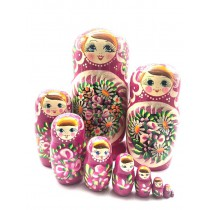 "Muñeca rusa ""Margaritas"" rosa, 10 piezas, 28 cm"