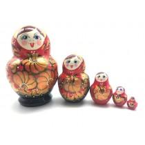 Matrioska Roja con oro, 5 piezas