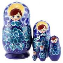 """Matrioska """"Flores azules"""" de 5 piezas"""
