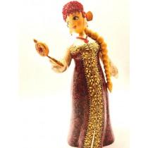 Muñeca de madera con espejo, 30 cm