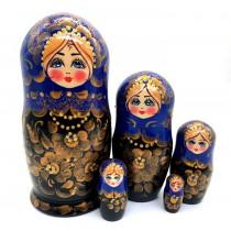 Muñeca rusa azul, 5 piezas 18 cm