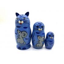 """Muñeca rusa """"Gato azul"""", 12 cm"""