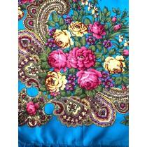 Mantón con flecos cortos, color azul 90 * 90 cm