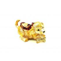 Perro Faberge - caja de oro, 5 * 8 cm.
