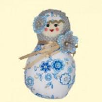 Matrioska muñeca de tela, azul