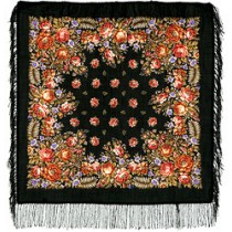 Chal de lana con flecos de seda, 89x89 cm