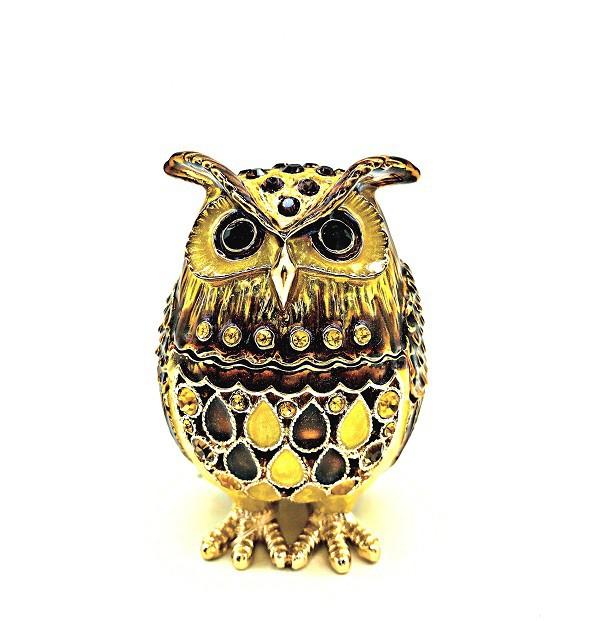 Сова - шкатулка Фаберже, золотого цвета, 6см.