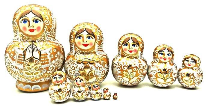 Матрешка золотая Молитва , 13 см, 10 мест.