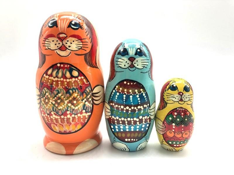 """Матрешка """"Зайцы"""", 3 зайца"""