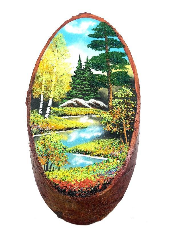 Картины на срезе березы, Осень, 55 см