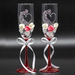 Подарочный набор свадебных фужеров (2 шт.) В-25 см,различные мотивы и цвета