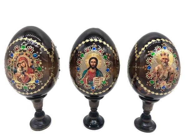 Яйцо  деревянное на подставке, трехчастное, 19 см