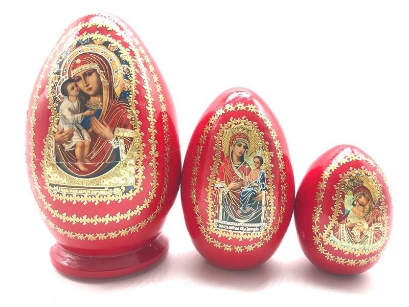 Яйцо-матрешка красное с иконой, 3 места