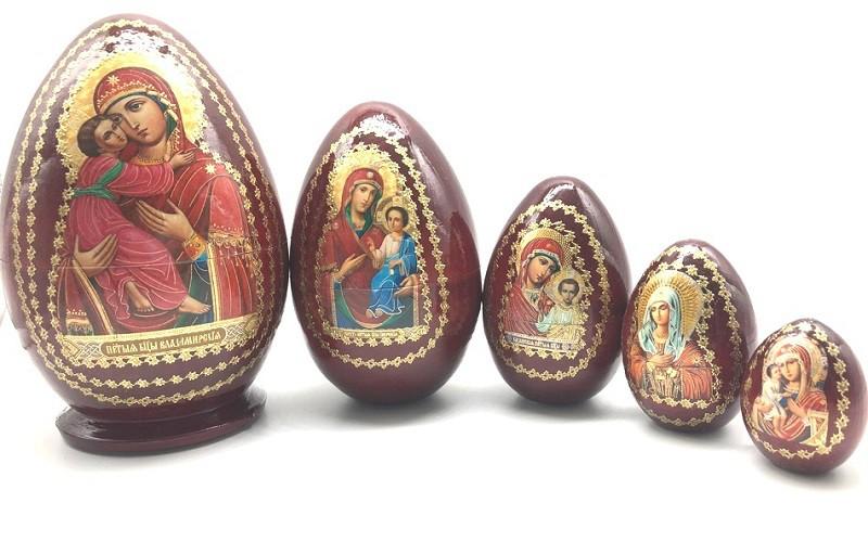 Яйцо-матрешка с иконами, 5 мест