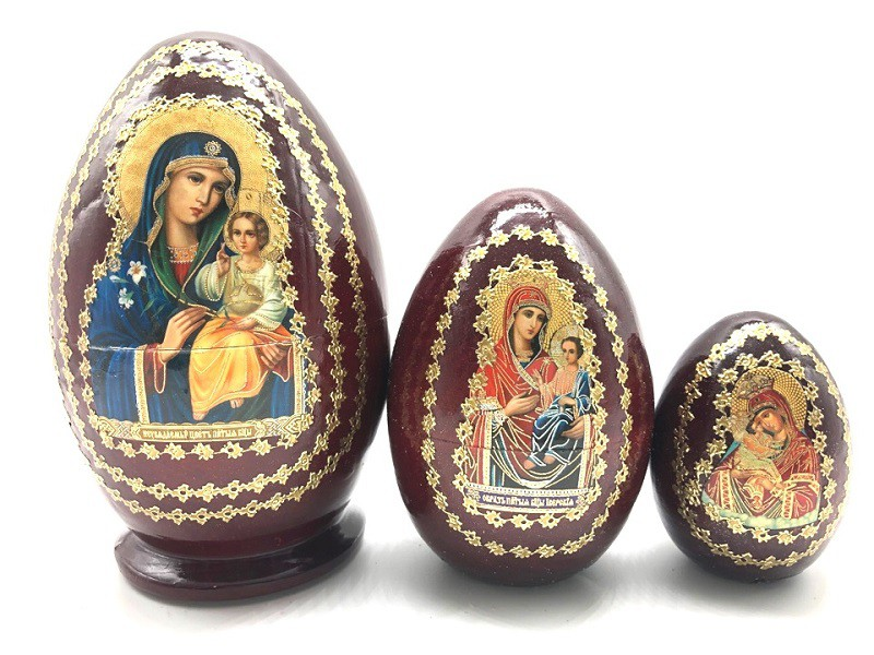 Яйцо-матрешка коричневое с иконами, 3 места
