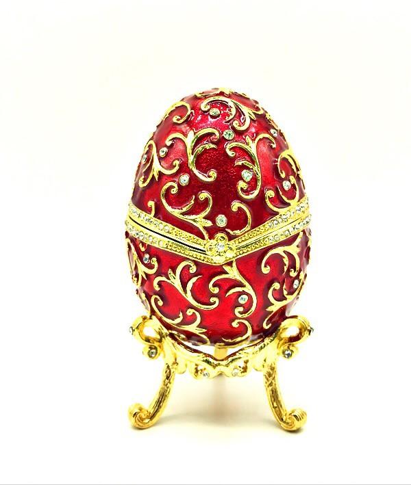 Музыкальное яицо Фаберже, красное ,13*8 см.